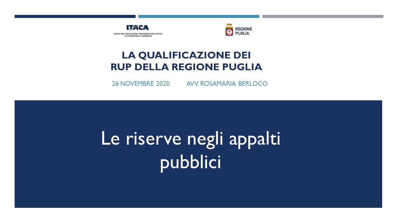 Formazione – Legal Team in Regione Puglia su riserve negli appalti pubblici